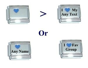 Italian-Charms-CUSTOM-MADE-Blue-Heart-Laser-I-Love