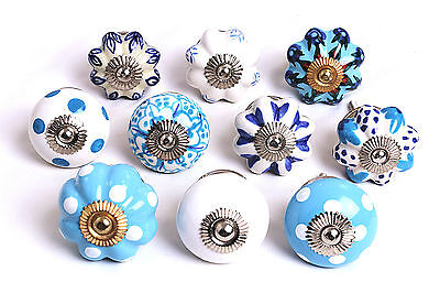 Fabulous Blue White Ceramic Cupboard Knobs Kitchen Door Drawers Pull