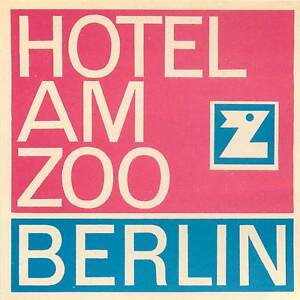 BERLIN GERMANY HOTEL AM ZOO VINTAGE LUGGAGE LABEL