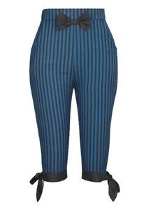 Blue-Black-Gothic-Steampunk-Stripe-Pirate-Retro-50s-Rockabilly-Cropped-Pants