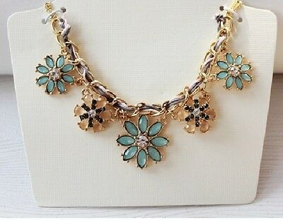 N848 Forever 21 Flower Rhinestone Wedding Accessories Cocktail Chain Necklace US