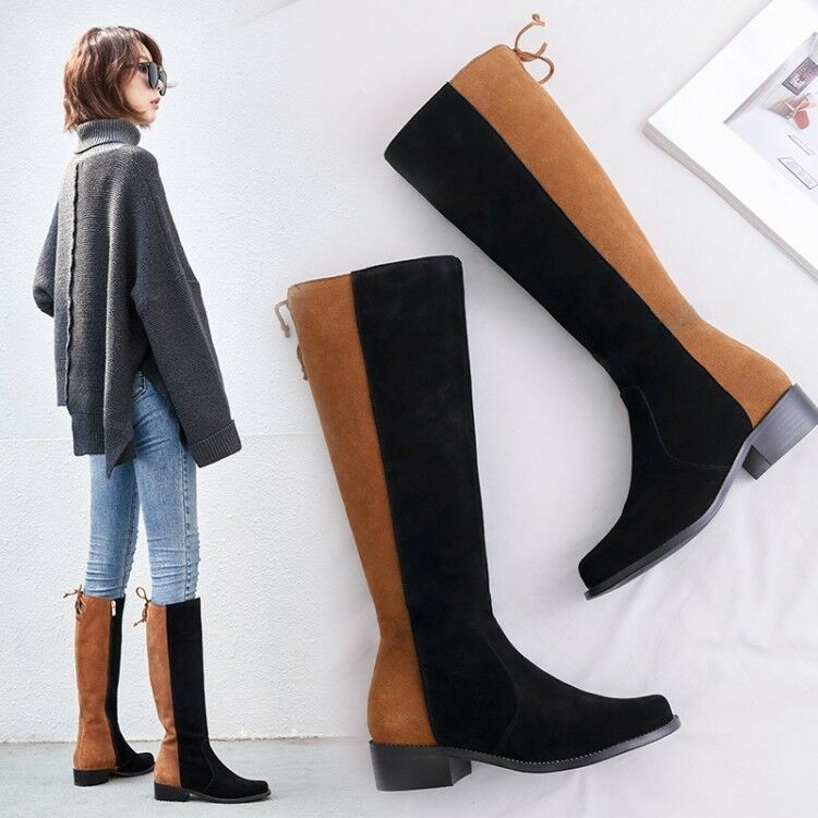 Débardeur femme fashion en cuir et daim biCouleure Bottes cavalières hautes chaussures aicq