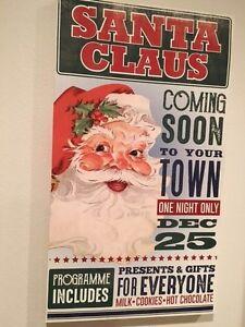 "Santa Canvas Sign Wall Hanging Christmas Vintage Style Retro 28"" x 16"""
