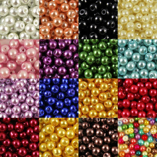 Smooth Round Glass Pearl Beads 200 x 4mm 100 x 6mm 60 x 8mm 20 x 10mm