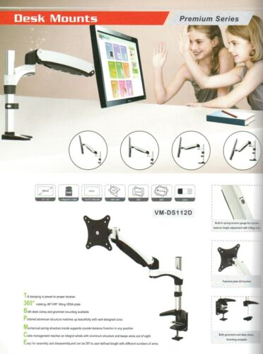 """RobotArm VM 112D Desk Mount LCD for 15/"""" to 27/"""" LCD or LED monitors"""