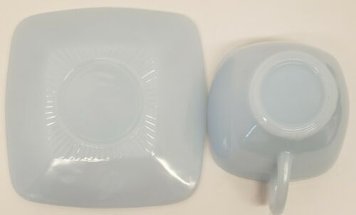 VINTAGE FIRE-KING~AZURITE~LIGHT BLUE~CHARM PATTERN~SQUARE CUP /& SAUCER~MINT COND