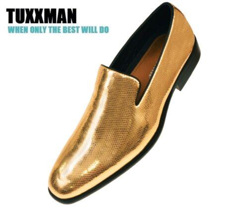 Gold Patent Exotic Print Slip On  Tuxedo Dress Shoe Wedding Loafers TUXXMAN