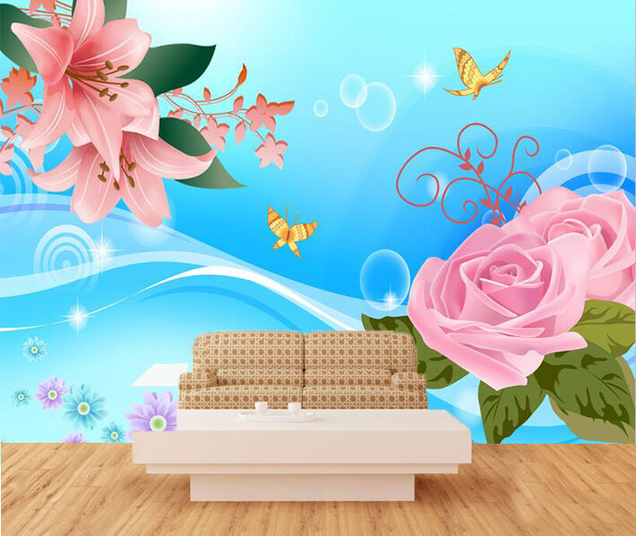 3D Pink flowers 879 Wall Paper Wall Print Decal Wall Deco Indoor Wall Murals