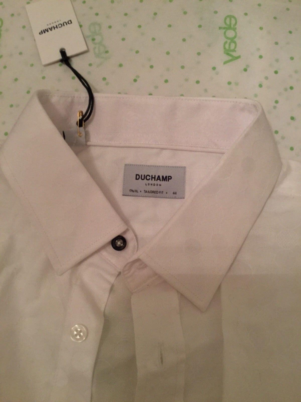 NEW Duchamp London Men's TailoROT Fit Weiß Patterned Dress Shirt - 17.5 / XL