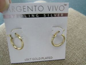 Argento-Vivo-Sterling-Silver-18kt-gold-plated-huggie-hoop-earrings