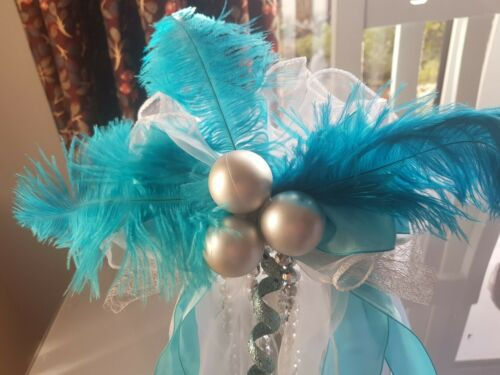 Blue White Silver Christmas Tree Topper Bow Large Handmade Luxury Bows