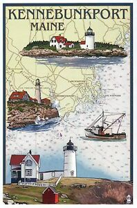 Kennebunkport Maine Nautical Chart Lighthouses Boat Me Modern