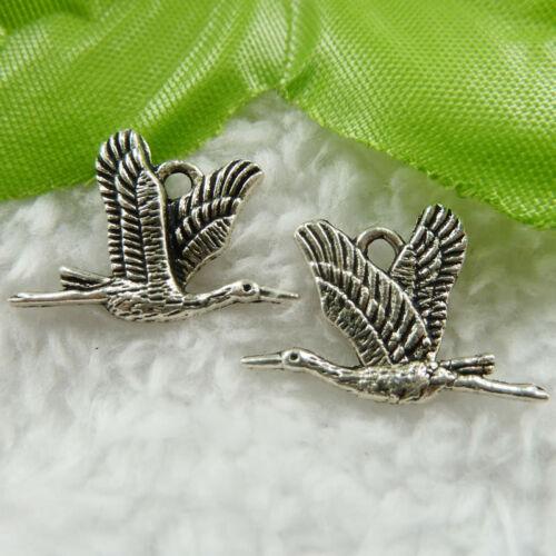 Free Ship 110 pcs  tibet silver bird charms 21x15mm #480