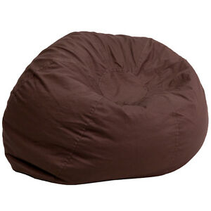 Image Is Loading Oversized Comfy Bean Bag Chair In Solid Brown