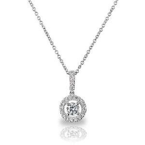 18Carat-White-Gold-Solitaire-Diamond-Halo-Pendant-0-18cts-GSI-amp-Chain-Necklace