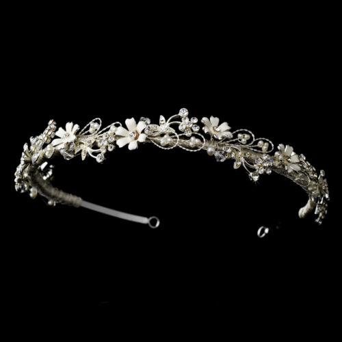 Silver White Floral Vine Faux Pearl Rhinestone Bridal Tiara Princess Crown