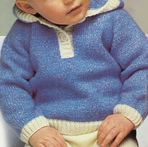 PO388a 4 sizes 9m-24m Knitting Pattern Baby//toddlers Boy//Girl Hooded Jumper