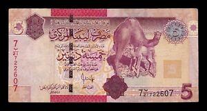 B-D-M-Libia-Libya-5-Dinars-2009-Pick-72-BC-MBC-F-VF