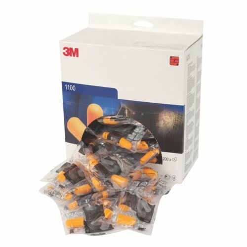 Box of 200 Pairs 3M 1100 Disposable Uncorded Foam Ear Plugs SNR 37db New