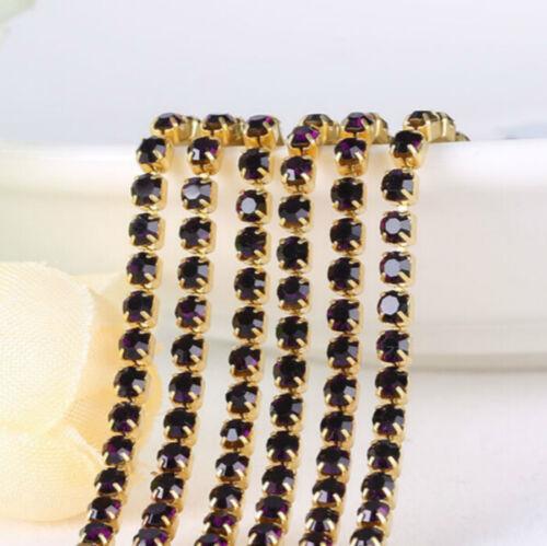 SS6 Cadena de cierre de diamantes de imitación ribetes cose en cristal Strass Costura Taza 2 mm 10 M