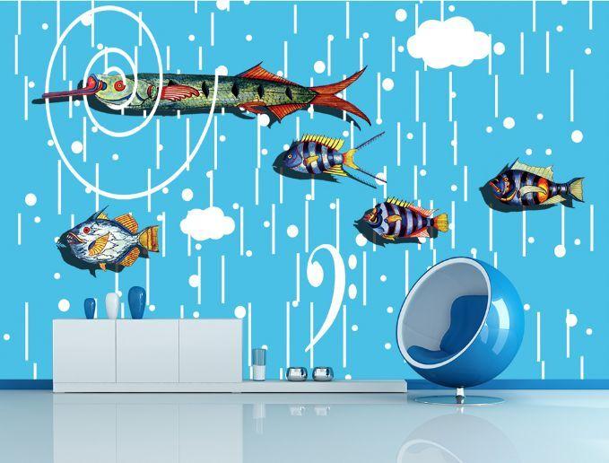 3D Poissons Piscine Photo Papier Peint en Autocollant Murale Plafond Chambre Art