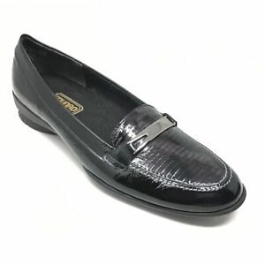 Women-039-s-Munro-American-Horsebit-Loafers-Shoes-Size-8N-Black-Patent-Leather-H5