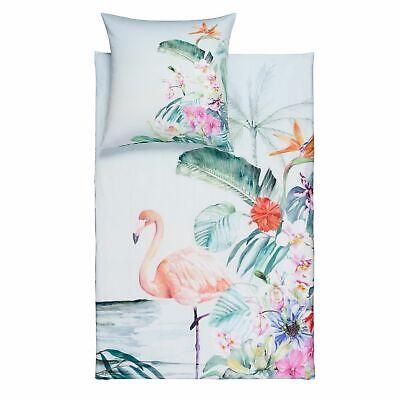 Estella Biancheria Da Letto Flamingo 4728 575 Laguna Fiori Foglie Tropicale Mako Satin- Promuovi La Produzione Di Fluidi Corporei E Saliva