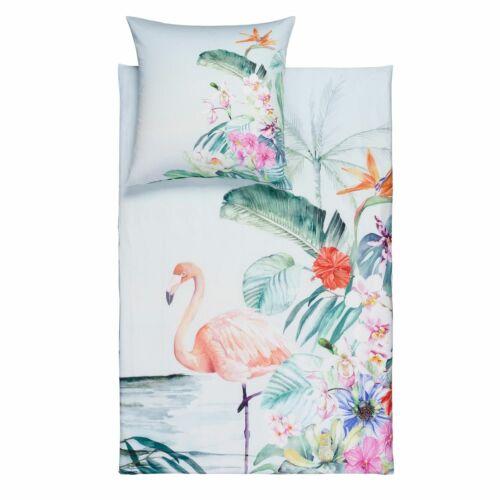 Estella Bettwäsche Flamingo 4728 575 lagune Blumen Blätter tropisch Mako Satin