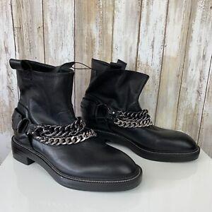 ZARA Womens Black Leather Ankle Combat