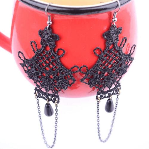 Femmes Gothique Victorien Noir Dentelle Tassel Dangle Charms Crochet Boucles D/'oreilles Bijoux