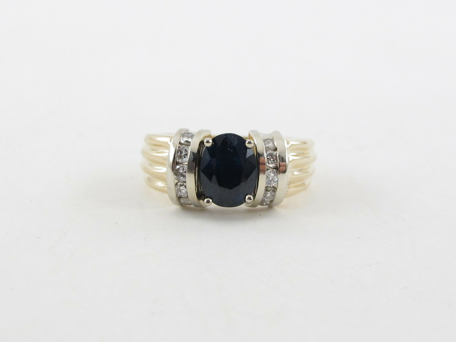 14 k yellow white gold sapphire and ring size 6 1