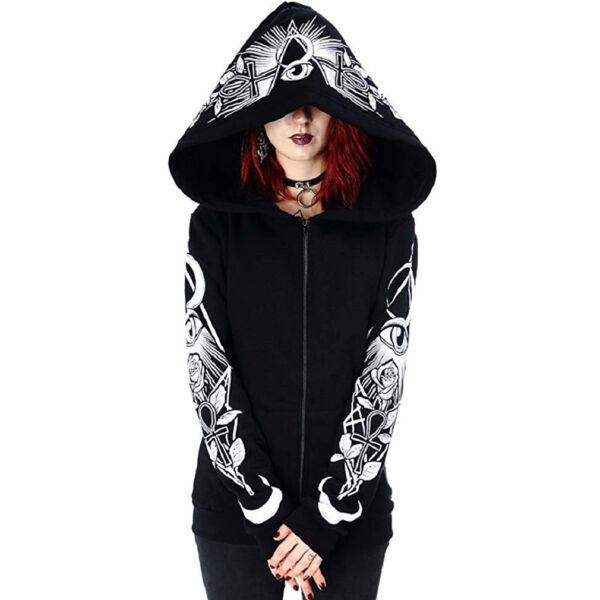 Restyle Gothic Goth Okkult Kapuzenjacke – Third Eye Hoodie Rosen Ankh Mond