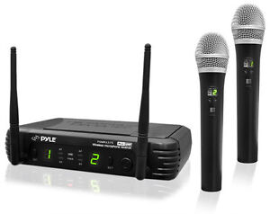 Pyle-PDWM3375-2-Channel-UHF-Wireless-Microphone-amp-2-Mic-Selectable-Frequency