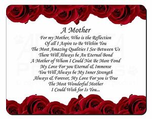 Mothers Day Poem Sentiment Computer Mouse Mat Christmas