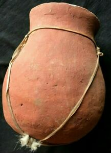 Wood-Fired-Ceramic-Clay-Rawhide-Wrapped-Brown-Red-Pot-Vase-Jug-HANDMADE-POTTERY