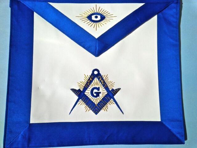 The Lux Master Mason  Royal Blue Satin Blue  Lodge Apron Golden  Bullion