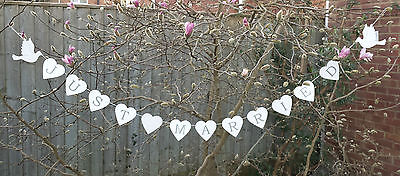 White Wood Just Married Heart Bunting Wedding Vintage Decoration Banner Dove