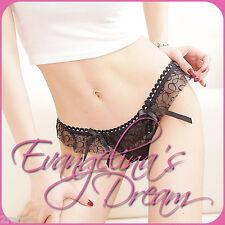 Evangelina's Dream 'TAMSIN' Luxury Girls Black Lace T-Back Drape Knickers BNWT