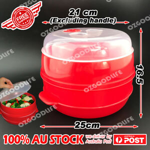 2-Tier-Microwave-Steamer-Double-Layer-Cooking-Meals-Kitchen-Syd-Vegetable