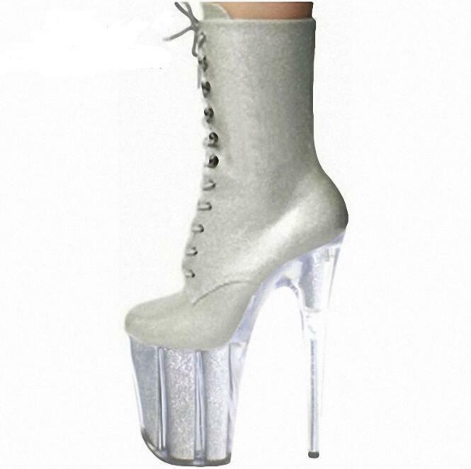 Womens Round Toe Lace Up Up Up 20cm Clear High Heels Platform Silver Party Boots shoes 5e3476