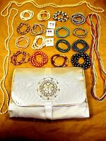 Huge Color Spectrum Freshwater Pearl Assortment Jewelry W/ Silver Organizer Bag