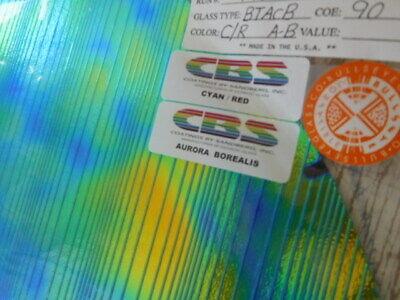 """3/""""Sq Dichroic Glass:CBS 90 COE Aurora Borealis Pattern on Thin Black"""