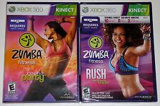 XBox 360 KINECT Game Lot - Zumba Fitness (New) Zumba Fitness Rush (New)