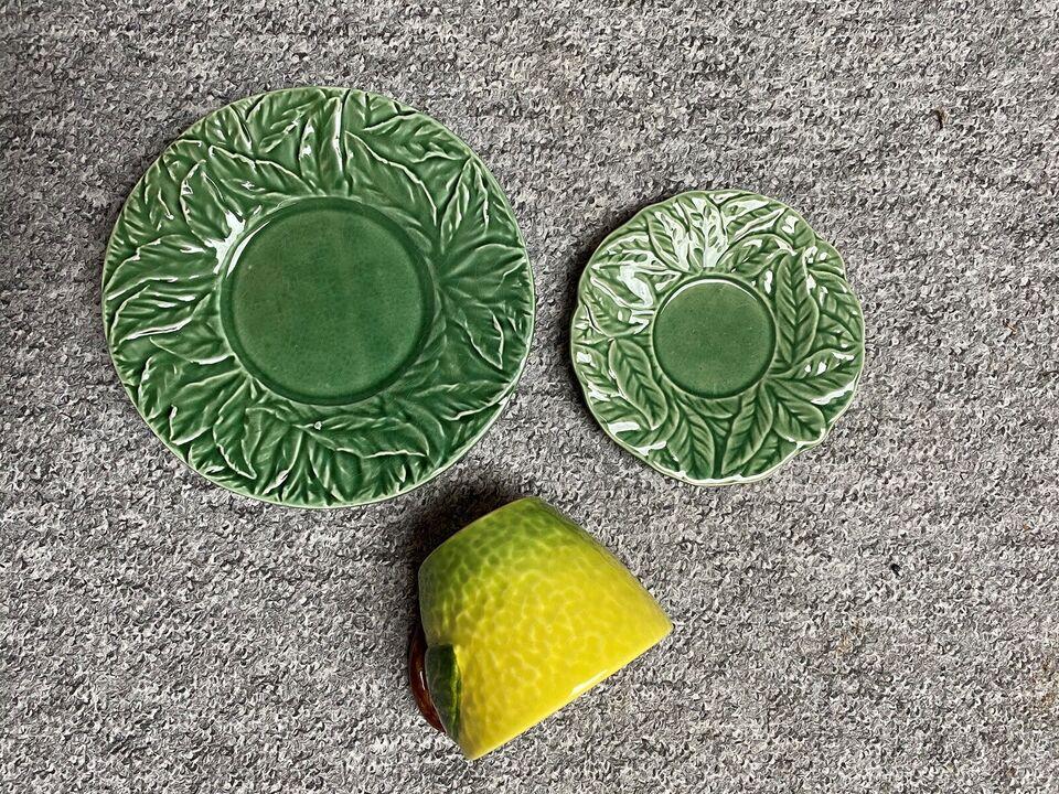 Porcelæn, Kop + underkop og sidetallerken, Citronstel