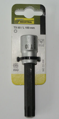 "PROXXON AUSWAHL TORX Einsätze Bit lang /& kurz TX20 TX70 Antrieb 12,5mm 1//2/"""