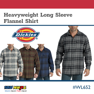 Dickies-Men-039-s-Heavyweight-Flannel-Plaid-Shirt-Long-Sleeve-Pocket-Relaxed-WL652