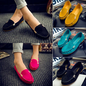 WOMENS-LADIES-FLATS-PUMPS-SOFT-COMFY-WORK-PLATFROM-BOAT-LOAFERS-SHOES-SIZE-UK-6