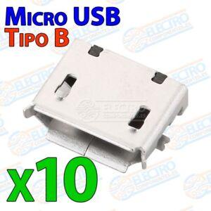 Conector-Micro-USB-Tipo-B-Hembra-soldar-SMD-standard-Lote-10-unidades-Arduin