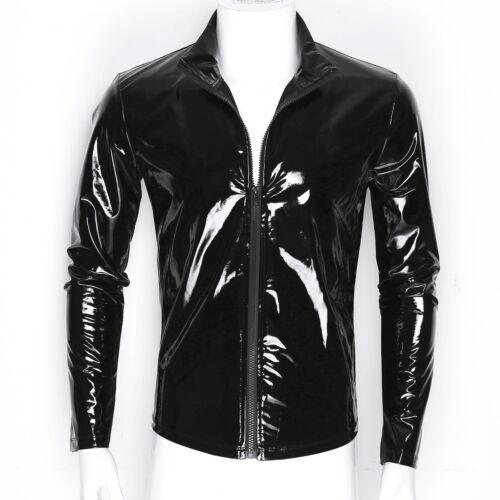 Men/'s Latex Leather Vest Tops T-Shirt Gym Muscle Crop Top Undershirt Clubwear