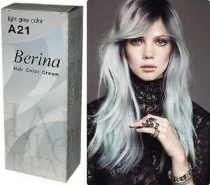 Berina A21 Grey Silver HAIR COLOUR Permanent cream HAIR DYE ...